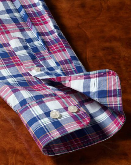 Classic fit poplin pink and navy  shirt