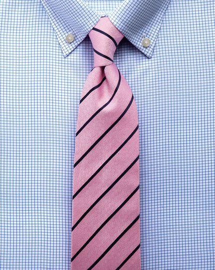 Slim fit button-down non-iron twill mini grid check sky blue shirt