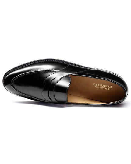 Black Goodyear welted saddle loafer