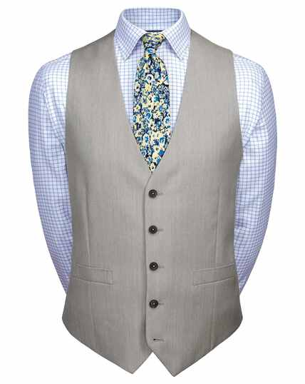 Light grey adjustable fit twill business suit waistcoat