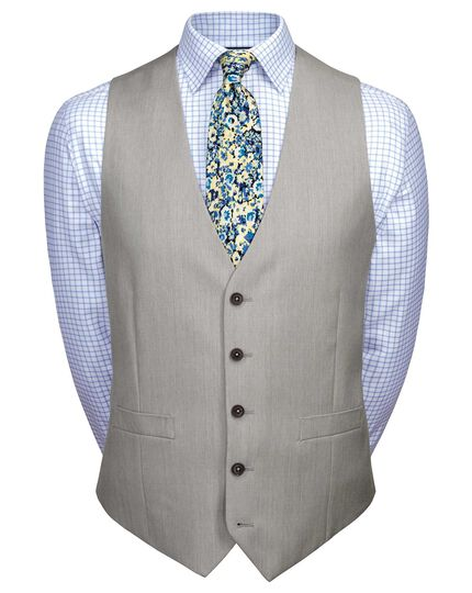 Light grey adjustable fit twill business suit waistcoat