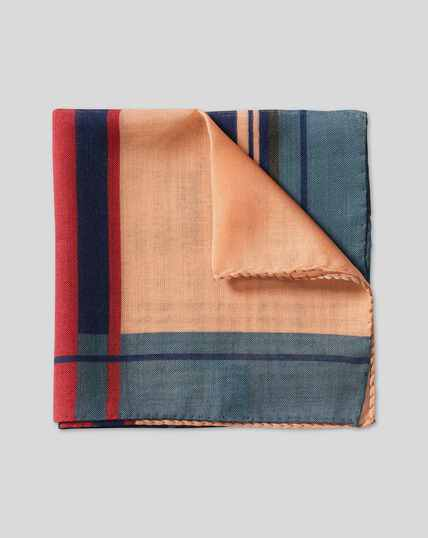 Stripe Wool Silk Pocket Square - Multi