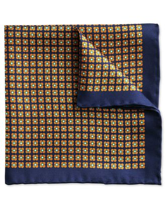 Navy and orange classic geometric floral pocket square
