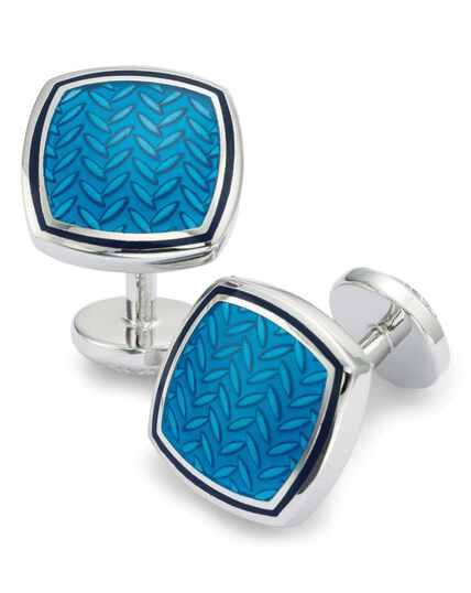 Blue enamel herringbone square cufflinks