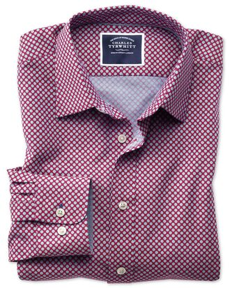 Slim fit non-iron chambray berry spot print shirt