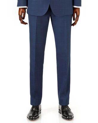 Royal blue check slim fit sharkskin travel suit trousers