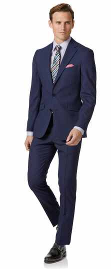 Royal blue extra slim fit merino business suit
