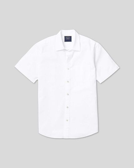 Classic Collar Short Sleeve Cotton Linen Shirt - White