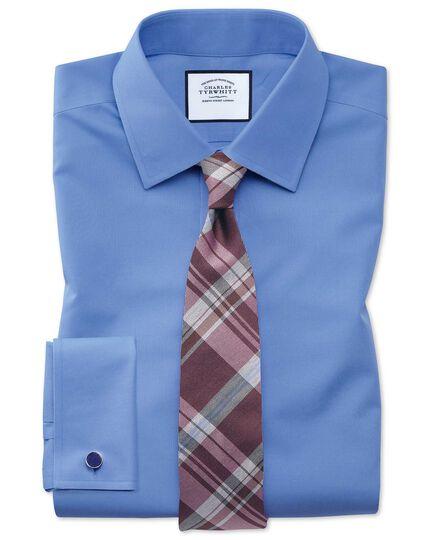 Slim fit blue non-iron poplin shirt