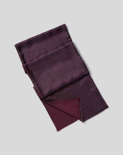 Silk Mini Leaf Print Scarf - Burgundy