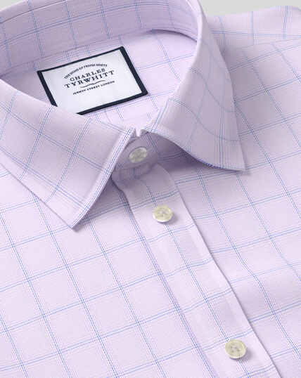 Classic Collar Egyptian Cotton Herringbone Shirt - Lilac