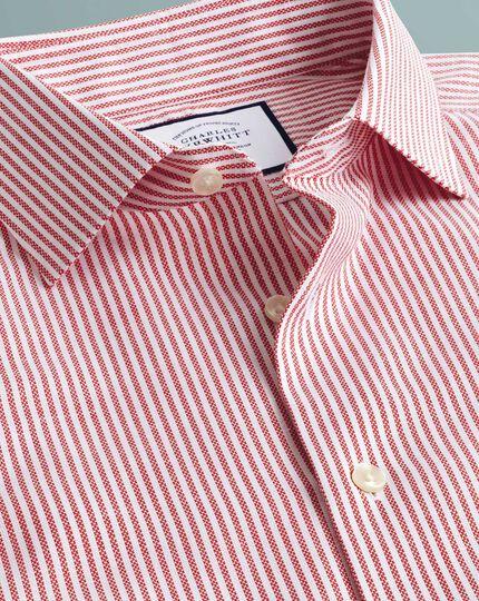 Business-Casual-Hemd Slim Fit Bügelfrei Baumwolle/Leinen mit Streifen in Rot