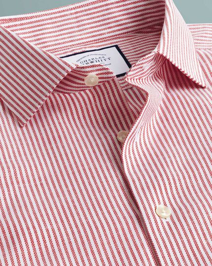 Extra slim fit business casual non-iron cotton linen red stripe shirt