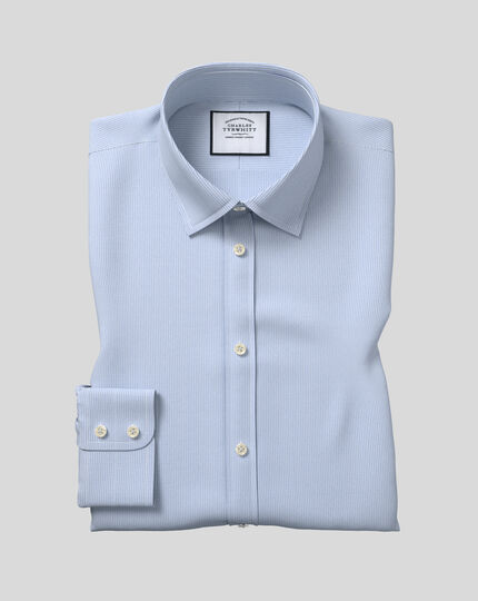 Classic Collar Poplin Stripe Shirt- Blue