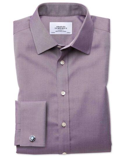 Classic fit non-iron twill dark purple shirt