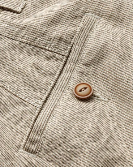 Tan stripe cotton linen shorts