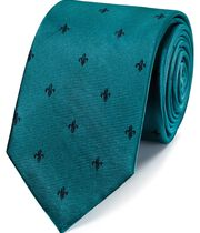 Teal and navy stain resistant Fleur-de-Lys classic tie