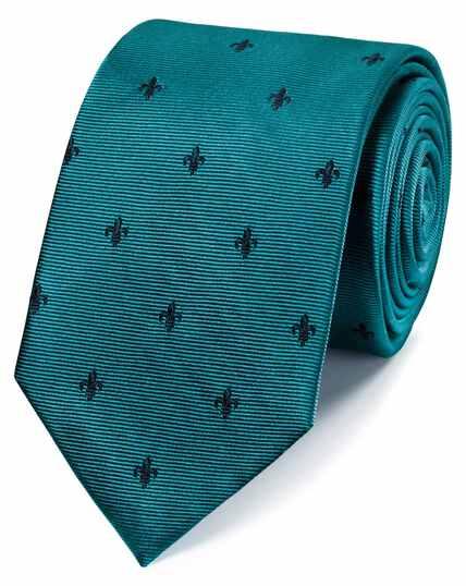 Cravate classique bleu canard et bleu marine en tissu anti-taches à fleurs de lys