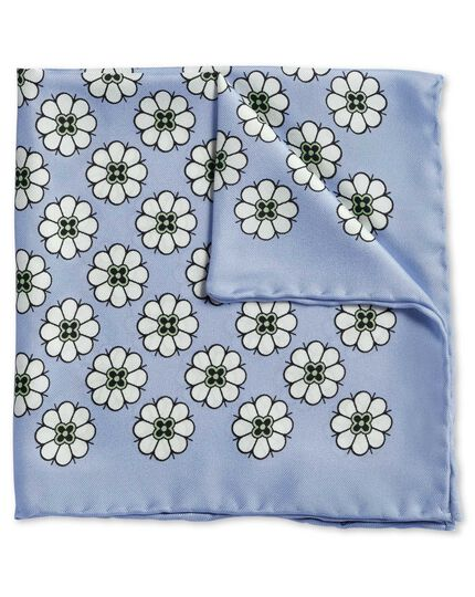 Sky blue large daisy print pocket square