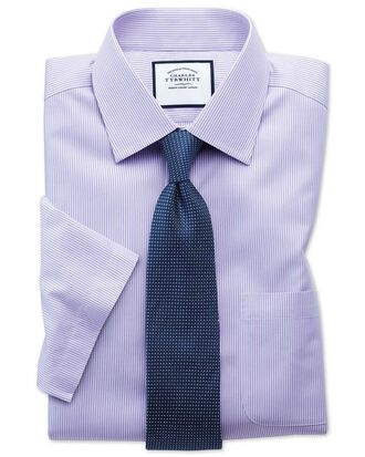 Classic fit non-iron bengal stripe short sleeve lilac shirt