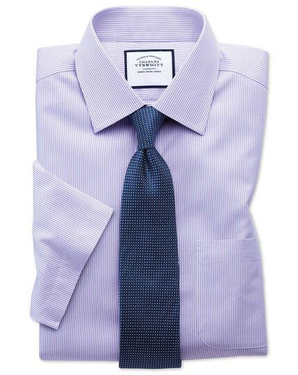 Bügelfreies Classic Fit Kurzarmhemd aus Popeline mit Bengal-Streifen in Flieder
