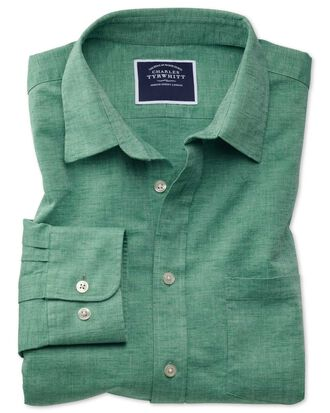 Slim fit green cotton linen shirt
