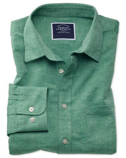 Slim fit cotton linen green plain shirt