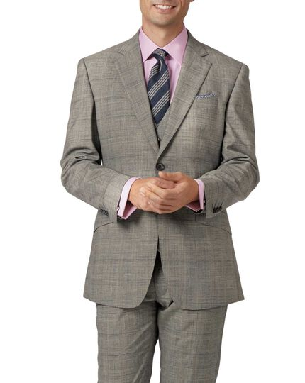 68663641 Grey slim fit Panama Prince of Wales check business suit jacket | Charles  Tyrwhitt
