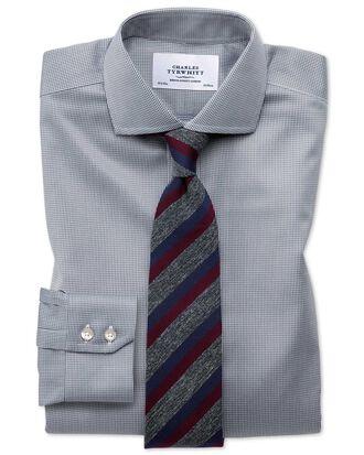 Slim fit cutaway non-iron puppytooth dark grey shirt