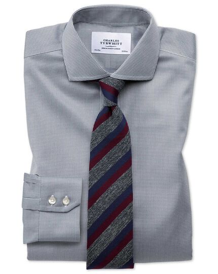 Chemise gris foncé pied-de-poule slim fit sans repassage à col cutaway
