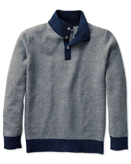 Blue jacquard button neck jumper