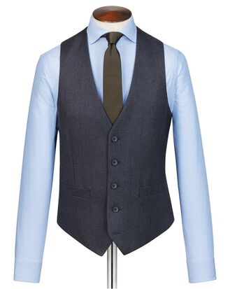 Charcoal and blue adjustable fit stripe flannel suit vest