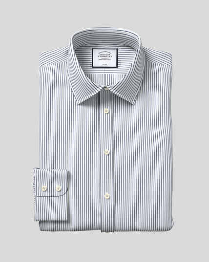 Classic Collar Non-Iron Dobby Stripe Shirt - Navy
