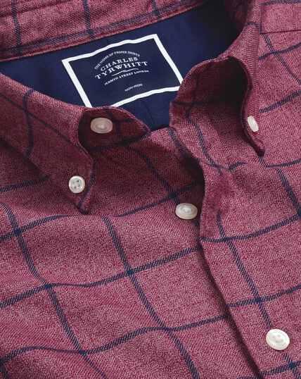 Bügelfreies Twill-Hemd mit Button-down-Kragen und Karos - Beerenrot & Marineblau