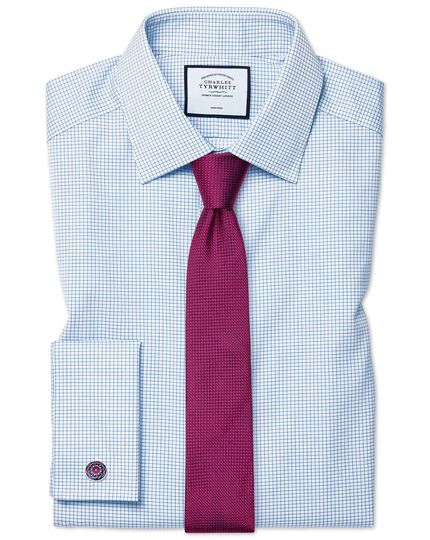 Extra slim fit non-iron sky blue mini grid check twill shirt