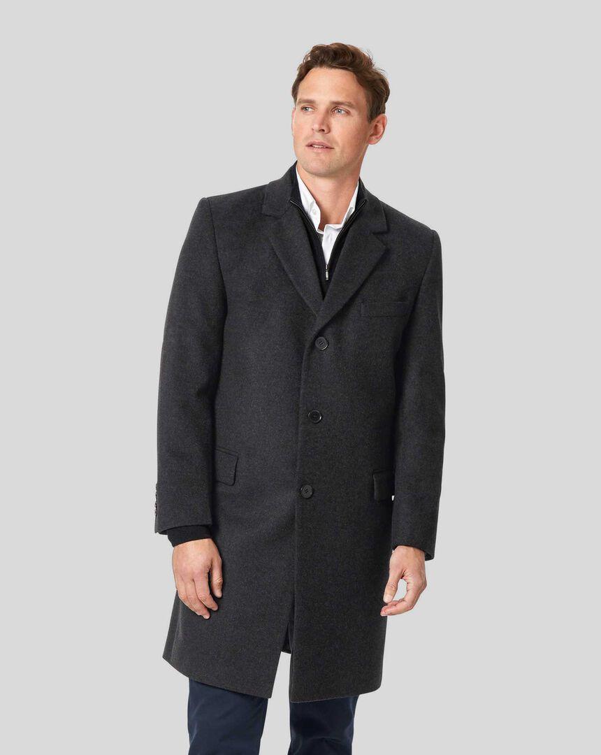 Italian Wool Cashmere Overcoat - Charcoal