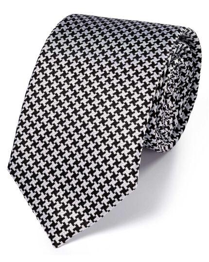 Cravate classique noire et blanche en soie à motif pied-de-poule