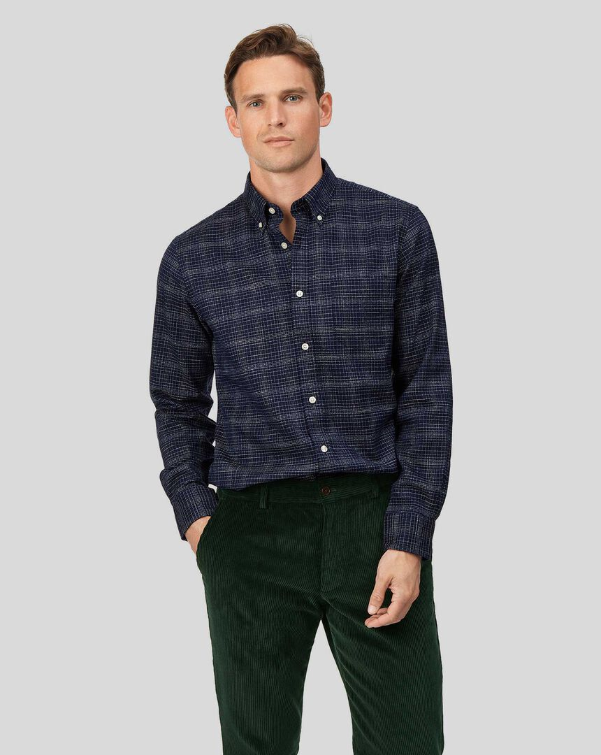 Soft Washed Non-Iron Twill Grid Check Shirt - Navy