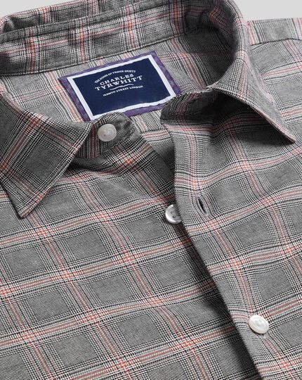 Slim fit cotton with TENCEL™ orange and grey Prince of Wales check shirt