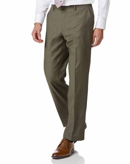 Businessanzug-Hose Classic Fit Twill in Olive