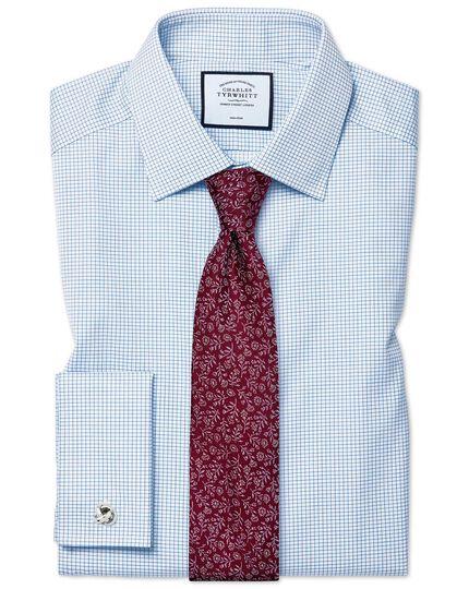 Classic fit non-iron sky blue mini grid check twill shirt
