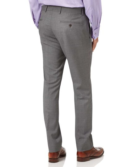 Silver slim fit Italian cross hatch weave suit trousers
