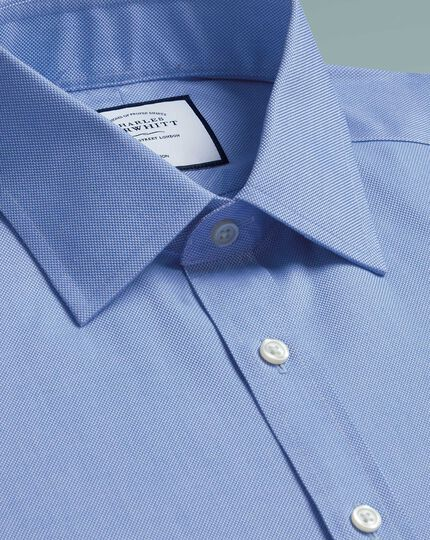 Bügelfreies Slim Fit Hemd aus Royal-Panama in Blau