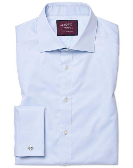 Extra slim fit semi-cutaway luxury twill light blue shirt