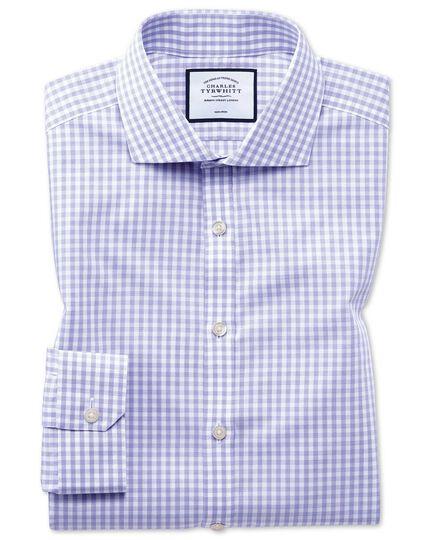Chemise violette en popeline Tyrwhitt Cool super slim fit à carreaux simples sans repassage