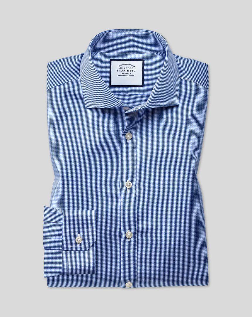 Cutaway Collar Non-Iron Check Shirt - Royal Blue
