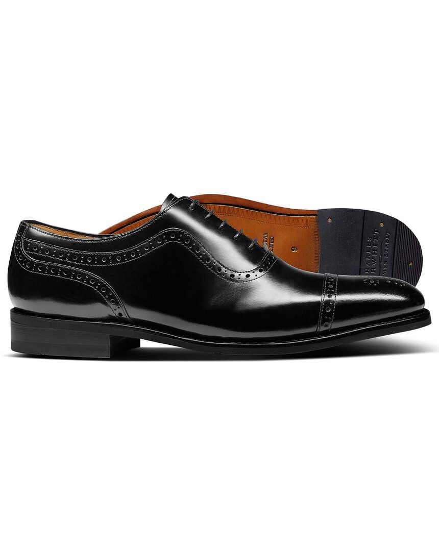 Black Goodyear welted Oxford brogue shoes