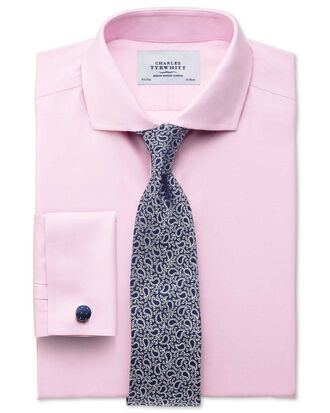 Classic fit spread collar non-iron twill pink shirt