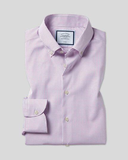 Chemise à carreaux et col boutonné sans repassage - Violet