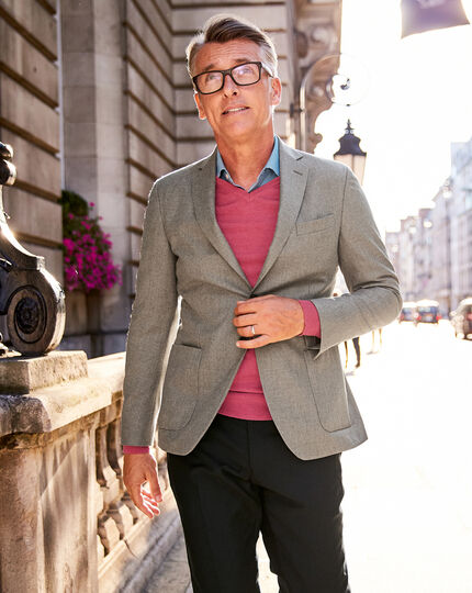Slim fit fawn Italian wool flannel blazer